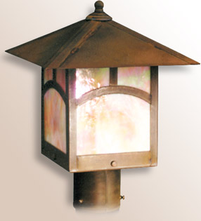Timberline post mount arts and crafts lantern